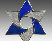 Star Of David, Stained glass suncatcher in striking cobalt blue and iridized clear glass.