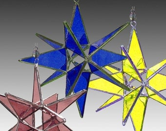 Set of Three Stained Glass 3D Moravian Stars, Large - Your Colors - Home Decor - Wholesale Price - Handmade Stained Glass