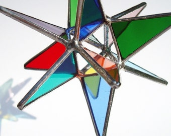 "4.5"" Multi Colored Stained Glass Moravian Star"