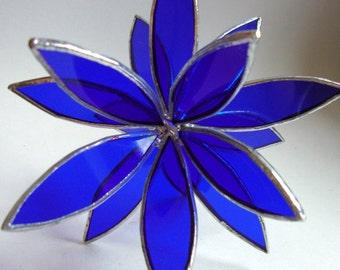 3D Stained Glass Suncatcher - In Full Bloom Cobalt