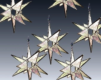 10  Clear Iridescent Stained Glass Moravian Stars -   Ornaments - Sun Catchers