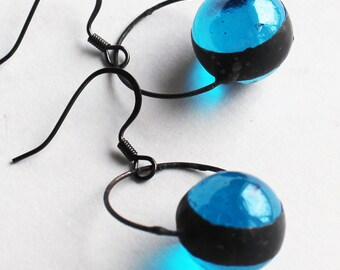 Stained Glass Jewelry Earrings - Aquamarine Glass Marbles - Silver or Dark Patina