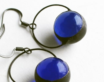 Stained Glass Jewelry Earrings - Cobalt Blue Glass Marbles - Silver or Dark Patina