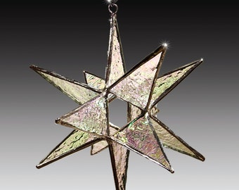 "New 5"" Size -Stained Glass Moravian Star Ornament- Choose Your Color- Christmas Ornament - Home Decor"