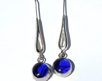 Stained Glass Jewelry Earrings - Cobalt Blue Drops