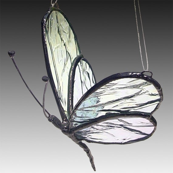 Small Stained Glass Butterfly, 3D Sun Catcher, Clear Iridescent - Handmade Stained Glass