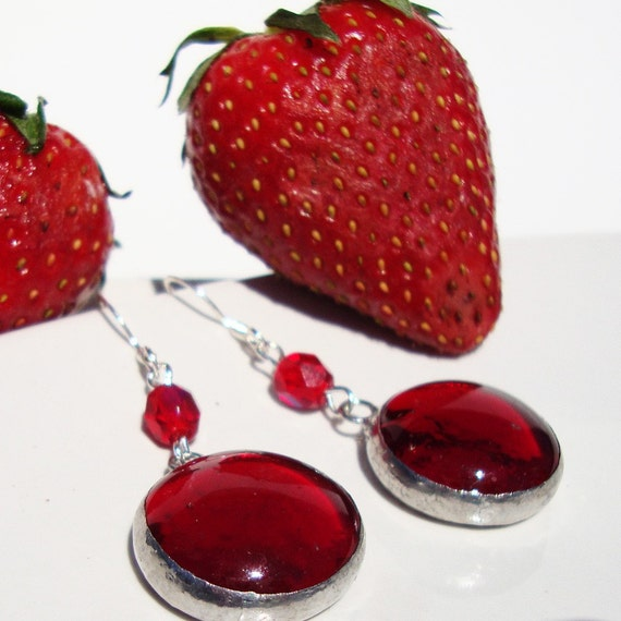 Ruby Red Stained Glass Earrings - Handmade Stained Glass