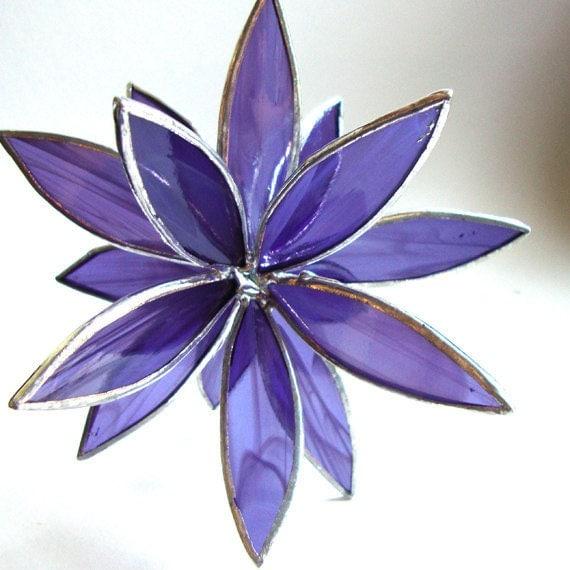3D Stained Glass Suncatcher - In Full Bloom Purple Swirl