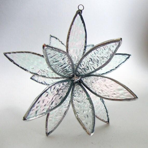 Stained Glass 3D flower - Suncatcher -  In Full Bloom Iridescence