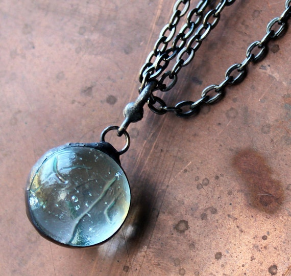 Reserved Listing for Anonymous -Last One -Marble Orb - Stained Glass Jewelry Necklace - Vintage Mouth blown Marble