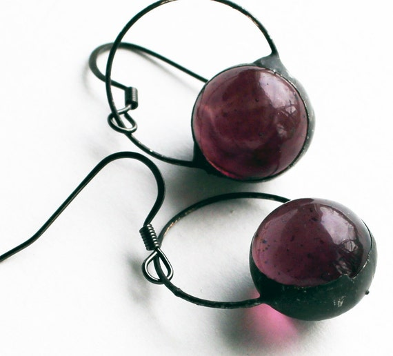 Stained Glass Jewelry Earrings - Amethyst Glass Marbles - Silver or Dark Patina