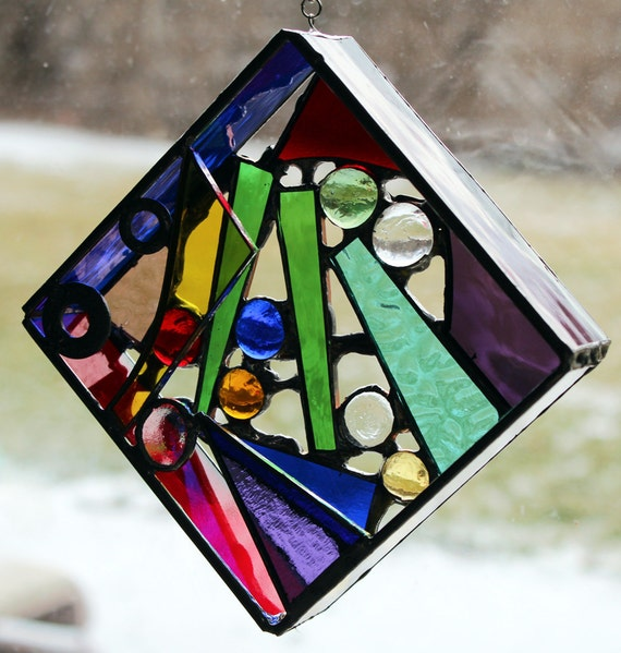 Original 3D free-hanging Stained Glass Art - Color Me Square - 4.5""