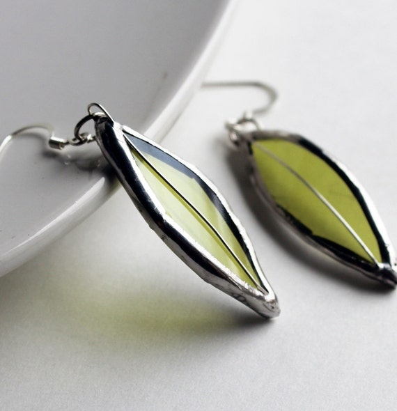 Stained Glass Jewelry Earrings - Re Purposed Wine Bottle - Light Green