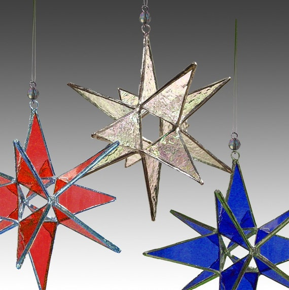 3 Miniature Moravian Stars, Ornaments,  your colors,   Wholesale price.
