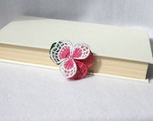 BARRETTE - Hair Clip - Pansy Flower - White - Dark Pink - Party - Free Standing Lace Embroidery