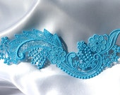 Cherry Blossom and Scrolls LACE - Venice - Blue - Altered Couture - Costume - Applique - Embroidery
