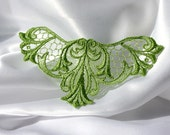 LACE COLLAR - Venice - V neckline - Wings - Pea Green - Bridal - Altered Couture - Costume - Applique - Wings - Embroidery