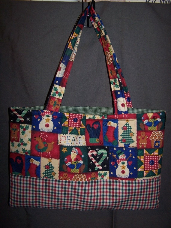 Hand Made Christmas Patchwork Tote Bag Holiday snowman Stocking Tree Ornament Plaid