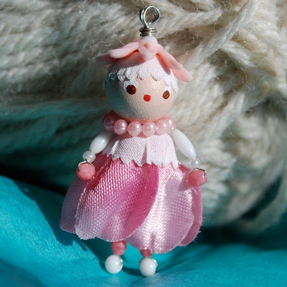 bead doll charm pendant ornament - vintage beads - wire wrapped - pink - hand painted face - lucite - handmade - retro style - shabby chic