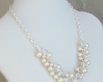 BRIDES GIFT Ivory Pearl & Diamond Look WEDDing BRIDAL Necklace By DYEnamite