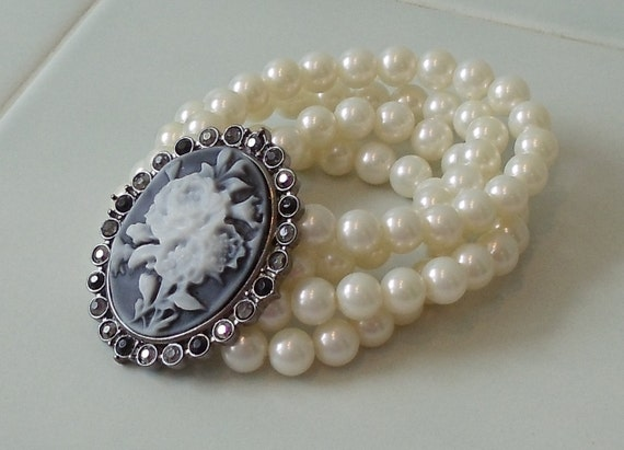 Four Strand Ivory Pearl Cameo Bracelet, Handcrafted