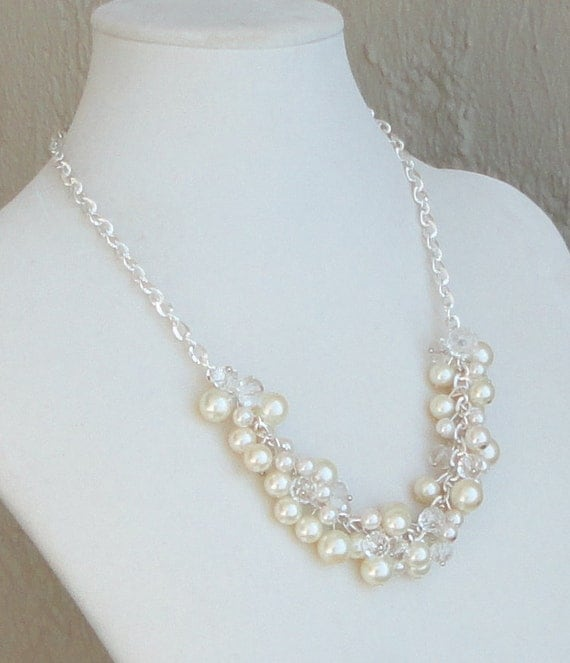 Ivory Pearl and Diamond Look Glass Bead Bridal Necklace, Handcrafted (Custom Bridal Order)