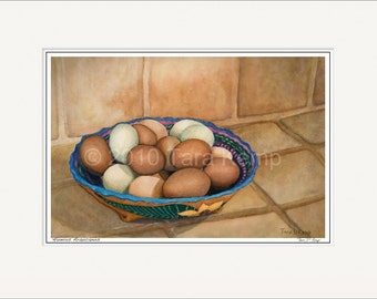 Huevos Araucanos (Araucana Eggs) - Archival botanical signed print in a 11x14 mat, from original painting by Tara Kemp