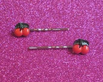 Cherry Bobby pins