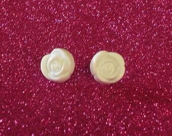 SALE White Rose Earrings