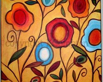 Original acrylic floral painting Summer Garden 16x20  yellow red blue mod pop art.
