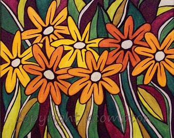 Original Acrylic Painting Summers End 11x14 retro style floral painting orange yellow green red