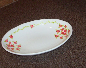 hand painted glass oval serving bowl with pink roses Mothers day gift.