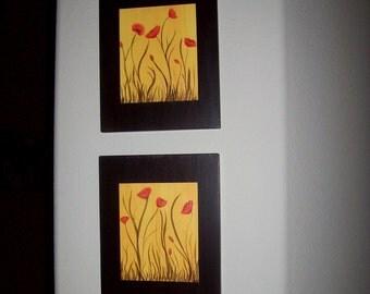 Acrylic painting poppies on hardwood set of two original paintings.