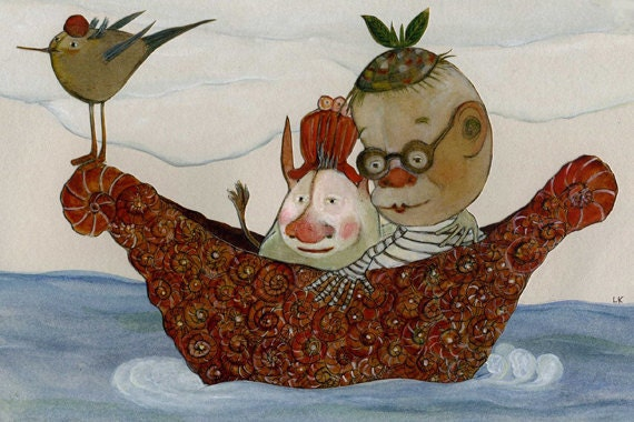 Whimsical Art Print, Reduced Price, Sale, Matted, Giclee, Love, Romantic, Sailing, Boat, Children's Art, Nursery Art, Happy Couple, Together