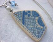 Sea Pottery Shard Necklace - Sea Glass Blue Pattern