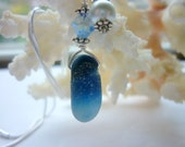 English Sea Glass Necklace Blue Multi in Sterling Silver with Swarovski