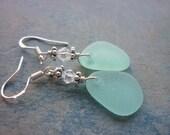 Sea Glass Earrings in Deep Aqua Blue Beach Tones
