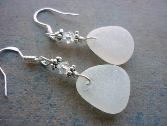 Sea Glass Earrings Wedding White Sterling