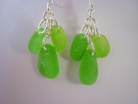 Sea Glass Earrings - Chandelier