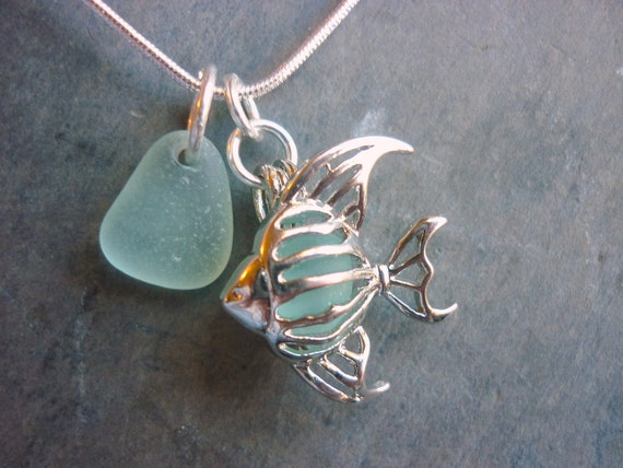 Sea Glass Necklace Locket Filigree Fish Sea Foam Beach Glass - Special Order