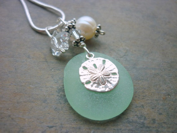 Sea Glass Necklace : Sterling Sand Dollar Charm Sea Foam Green On HOLD