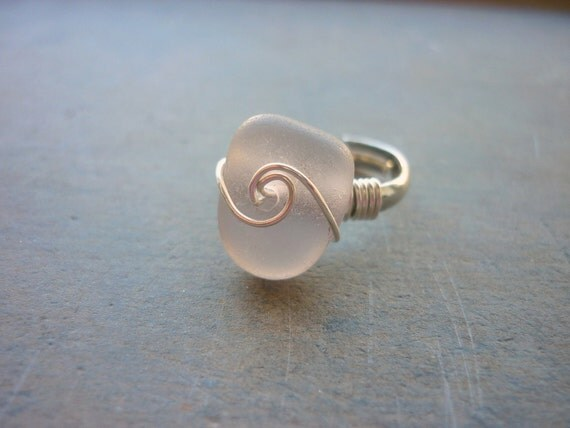Sea Glass Ring- Purple Seaglass Adjustable Ladies Size 5-8       A2