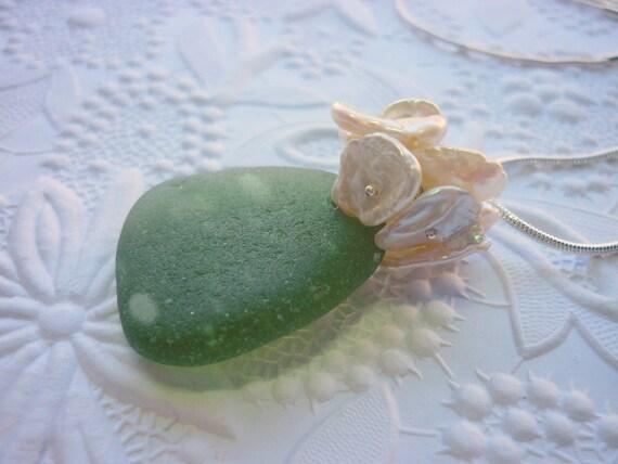 Sea Glass Necklace Beach Seaglass Bubbles Keshi Pearls