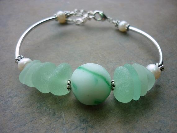Sea Glass Bracelet  Beach Glass Marble Sterling Sea Glass Jewelry Beach Glass Green Silver