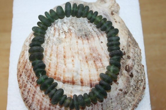 BEAUTIFUL BEACH GLASS Center Drilled Small sea gems in awesome Olive Shades  zy311