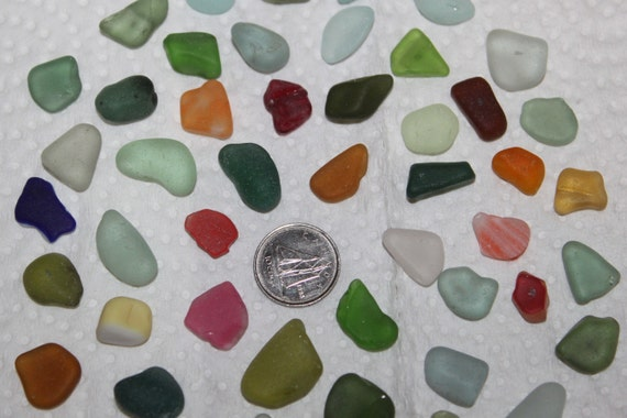 BEAUTIFUL BEACH GLASS 50 Cener Drilled Beach Glass Beads in a Rainbow of Awesome Color  zy313