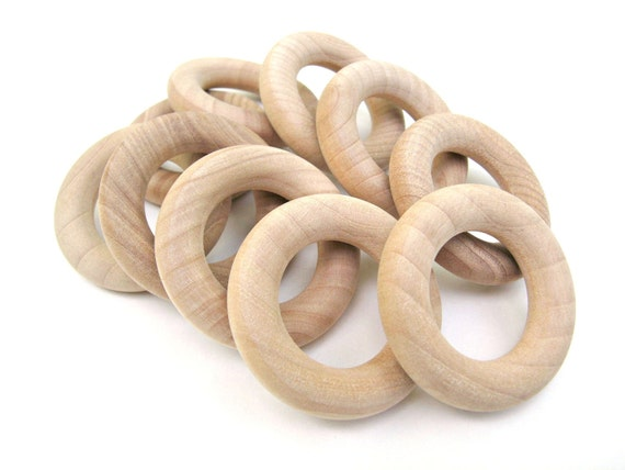 10 Small Wooden Rings - 1 3/4 Inch (44 mm) - Natural Unfinished Wood Toss Rings