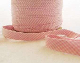"""Bias Trim 10 yards Pink Gingham Checkered Cotton .25"""" Envelope fold"""