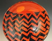 Serving Bowl: Red and Black Ceramic Bowl Functional Pottery