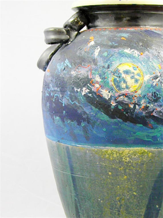 RESERVED LARGE Vase : Moonlight  Midnight Bue